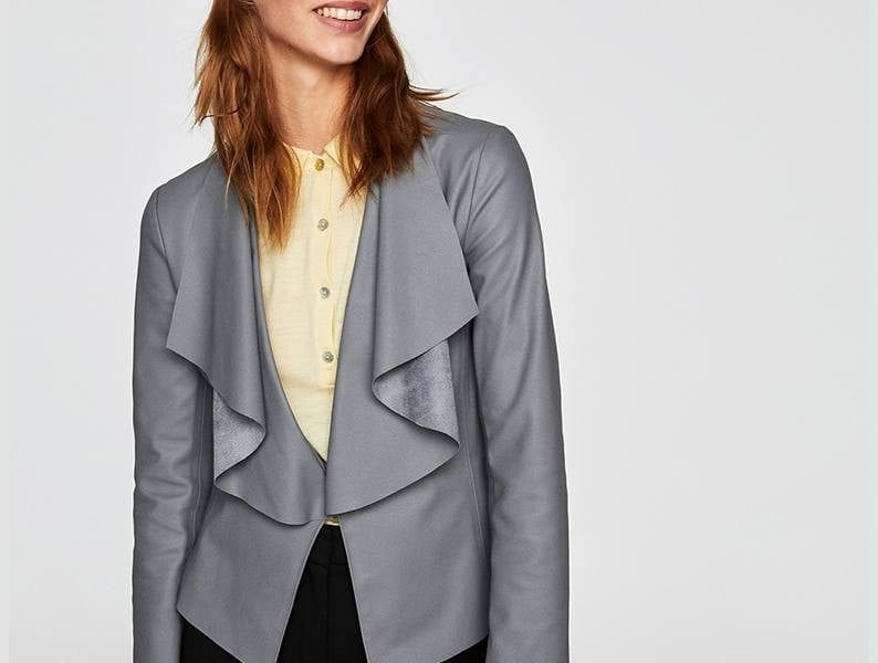 Faux leather jacket with flowing lapels